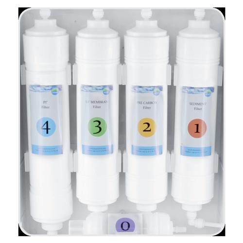 MAUNAWAI® Unterbausystem mit 4 Filterkartuschen